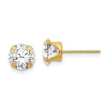 14k Madi K 6.5mm CZ Post Earrings