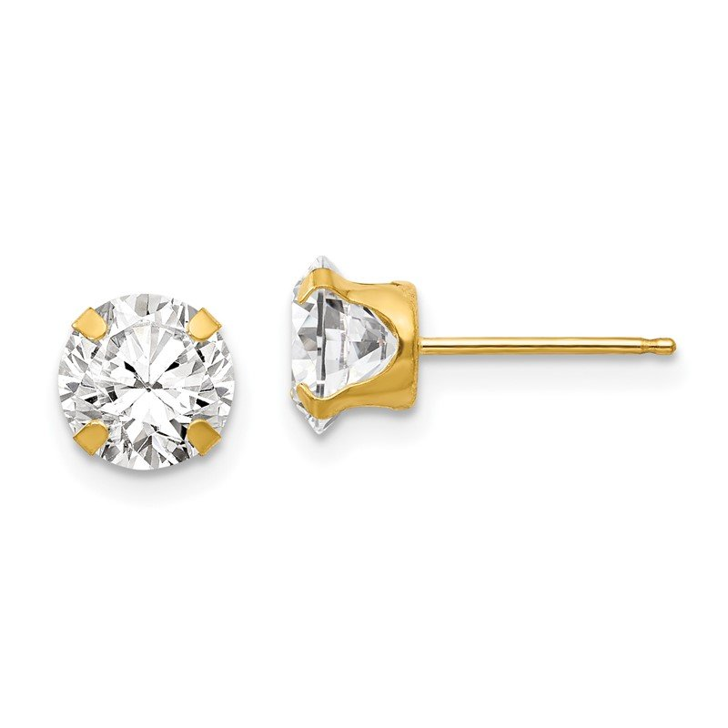 Quality Gold 14k Madi K 6.5mm CZ Post Earrings