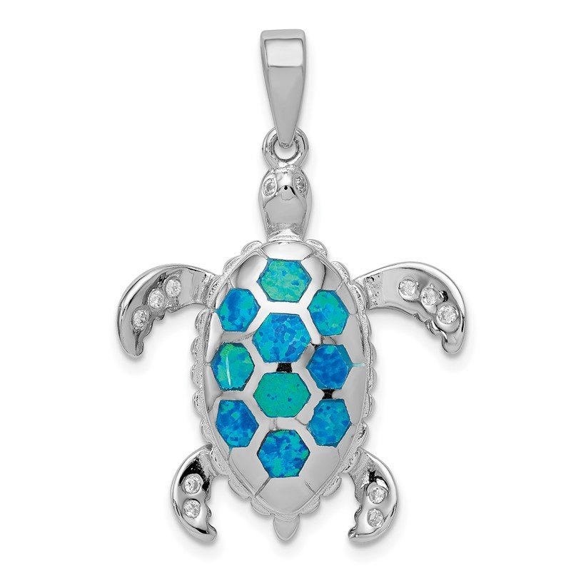 Quality Gold Sterling Silver Created Blue Opal Inlay / CZ Tortoise Pendant