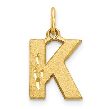 14KY Satin Diamond-cut Letter K Initial Charm