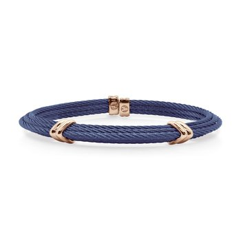 Blueberry Cable Tiered Bracelet with Dual Steel Stations