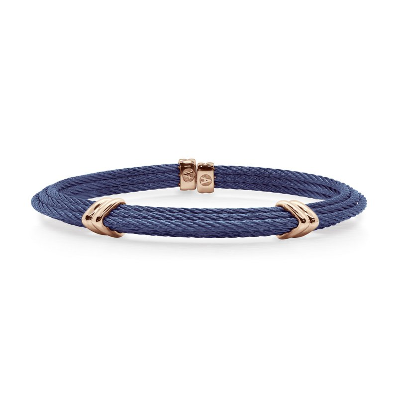 ALOR Blueberry Cable Tiered Bracelet with Dual Steel Stations