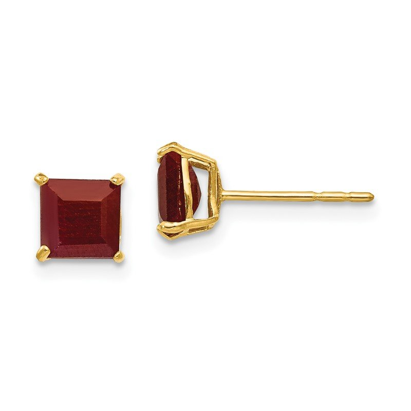 Quality Gold 14k Madi K Ruby 5mm Square Post Earrings