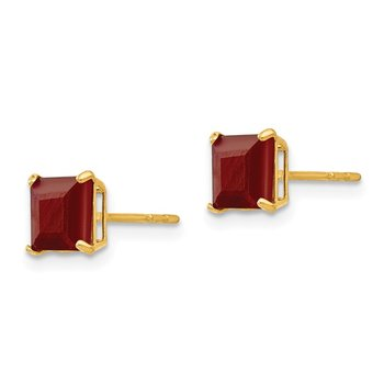 14k Madi K Ruby 5mm Square Post Earrings