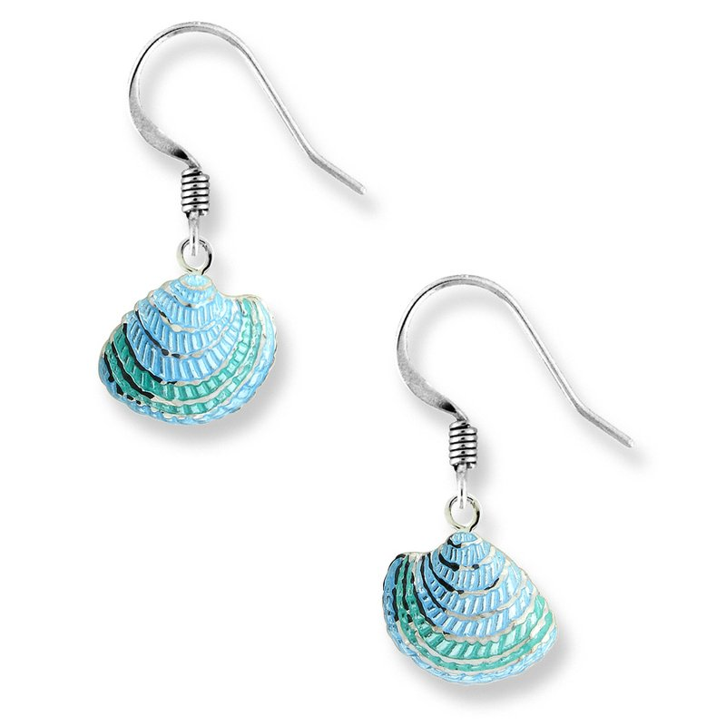 Nicole Barr Designs Green Shell Wire Earrings.Sterling Silver