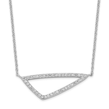 Sterling Silver Rhodium-plated CZ Triangle Necklace