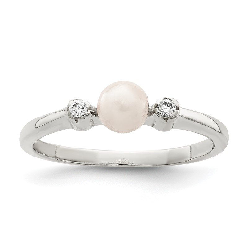 Quality Gold Sterling Silver CZ Imitation Pearl Ring