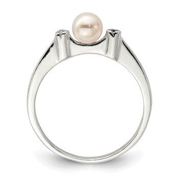 Sterling Silver CZ Imitation Pearl Ring