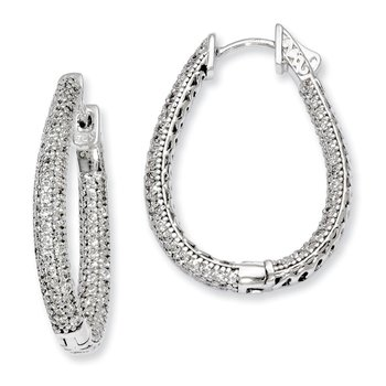 Sterling Silver Rhodium-plated CZ Teardrop Hinged Hoop Earrings
