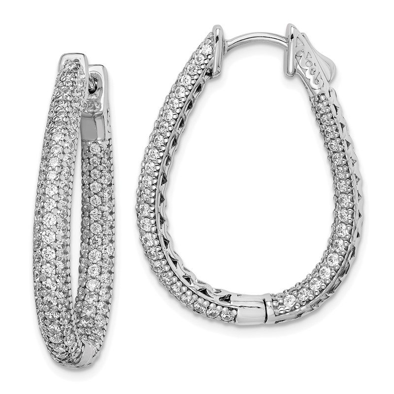 Quality Gold Sterling Silver Rhodium-plated CZ Teardrop Hinged Hoop Earrings