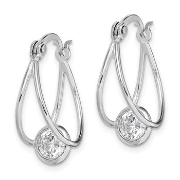 Sterling Silver Rhodium-plated CZ Double Hoop Earrings