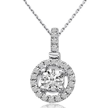 14k White Gold Round Diamond Fashion Pendant (0.46 CT)