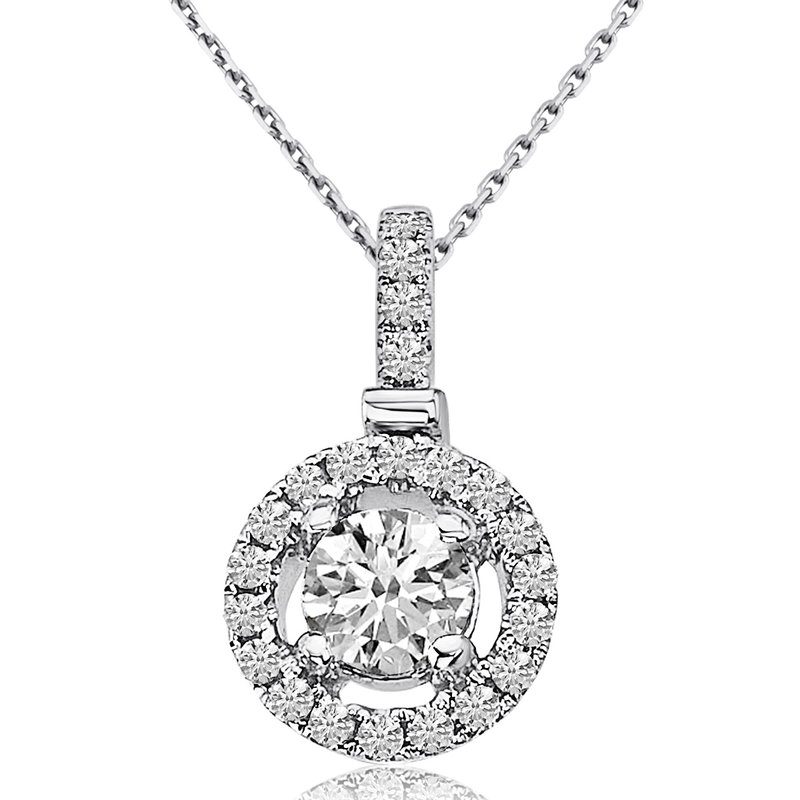 Color Merchants 14k White Gold Round Diamond Fashion Pendant (0.46 CT)