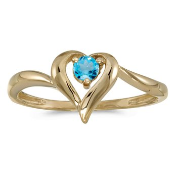 10k Yellow Gold Round Blue Topaz Heart Ring