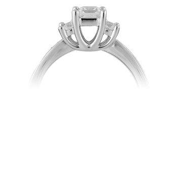 14K WG Diamond Engagement Ring  CZ Princess Center.