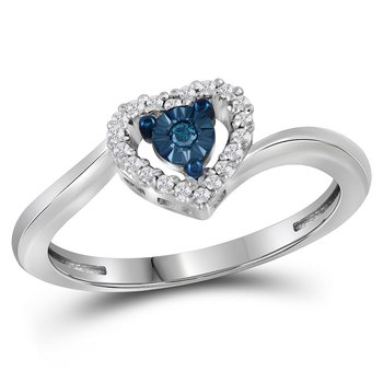 10kt White Gold Womens Round Blue Color Enhanced Diamond Heart Love Ring 1/10 Cttw