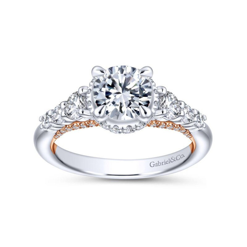 Gabriel Bridal Bestsellers 14K White-Rose Gold Hidden Halo Round Diamond Engagement Ring