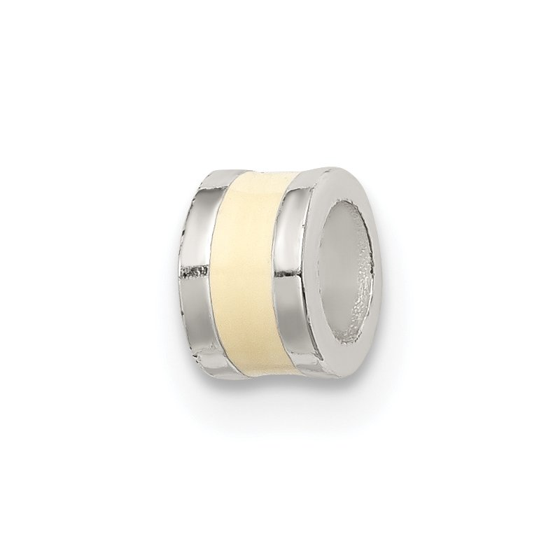 Quality Gold Sterling Silver Cream Enameled Spacer Enhancer