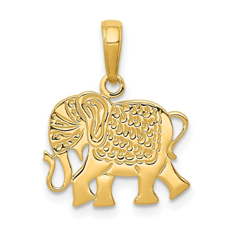 Quality Gold 14k Textured Elephant Pendant