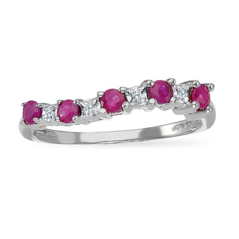 Color Merchants 14k White Gold Ruby and Diamond Wave Band