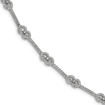 SS Rhodium-Plated CZ Brilliant Embers Polished Bracelet
