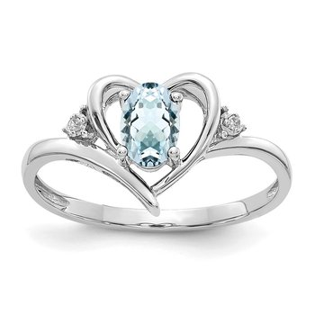 14k White Gold Aquamarine and Diamond Heart Ring