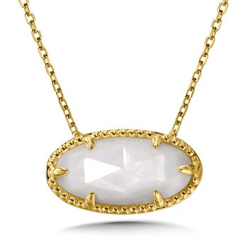 14K Yellow Gold Plated Sterling Silver Oval Pendant