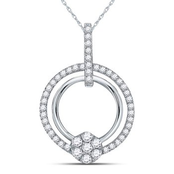 10kt White Gold Womens Round Diamond Circle Cluster Pendant 3/8 Cttw