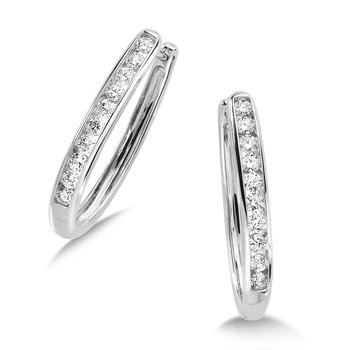 Channel set Diamond Oval Hoops in 14k White Gold (1/2 ct. tw.) JK/I1