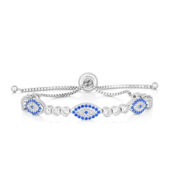 Sterling Silver CZ Evil Eye Station Friendship Bracelet