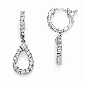 Sterling Silver Rhodium Plated CZ Hinged Hoop Dangle Teardrop Earrings