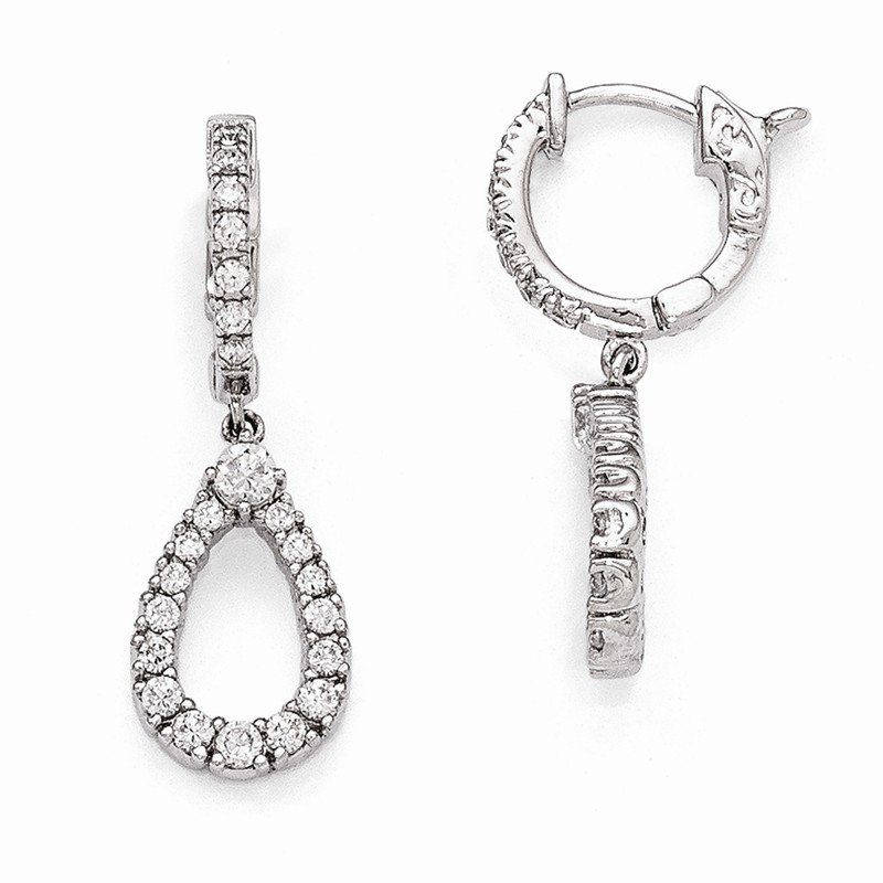 Quality Gold Sterling Silver Rhodium Plated CZ Hinged Hoop Dangle Teardrop Earrings