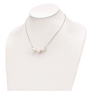 Sterling Silver Rhodium-plated CZ Bead/FWC Pearl w/ 2in ext. Necklace