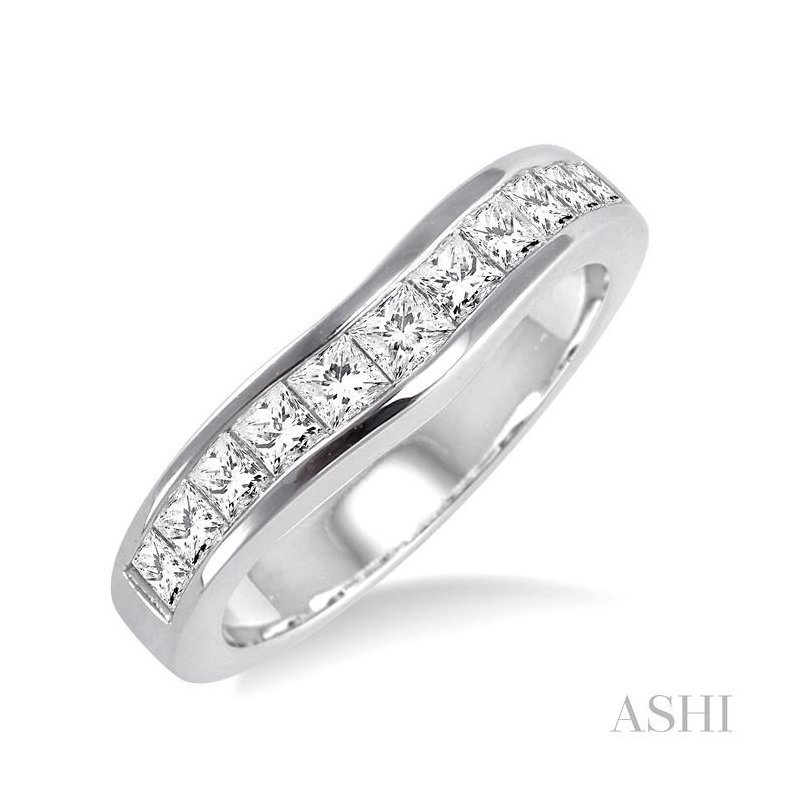 ASHI channel set diamond curved wedding band