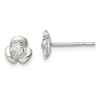 Sterling Silver Flower with CZ Post Earring