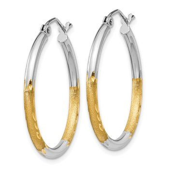 14k & Rhodium 2mm Satin & Diamond-cut Hoop Earrings