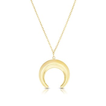 14K Gold Puffed Crescent Necklace