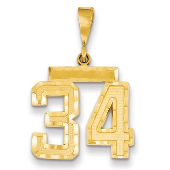 14k Medium Diamond-cut Number 34 Charm