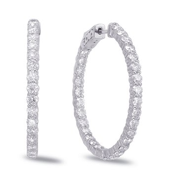 White Gold Hoop Earring- 2 Prongs