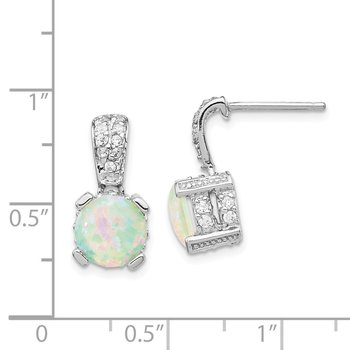 Cheryl M Sterling Silver 8mm Lab created Opal Cabochon & CZ Post Earrings