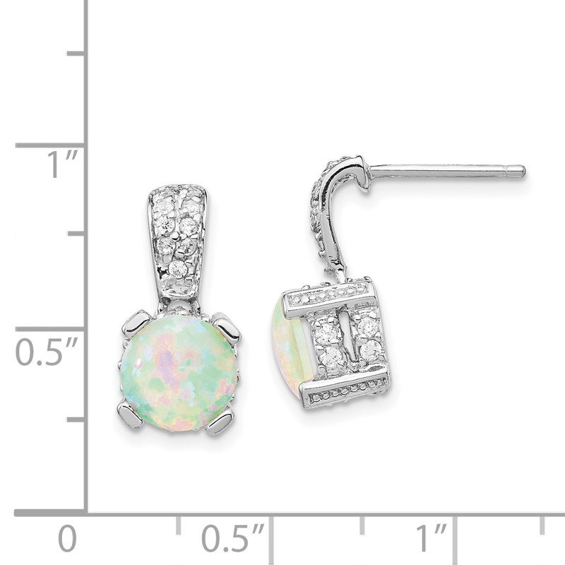 Cheryl M Cheryl M SS Rhod-plated 8mm Lab Created Opal Cabochon & CZ Post Earrings