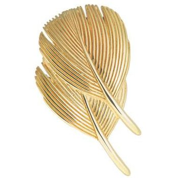 Double Dove Feather Pin - 14kt Gold