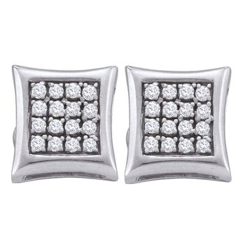 Sterling Silver Womens Round Diamond Square Kite Cluster Screwback Earrings 1/6 Cttw