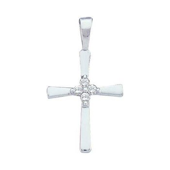 14kt White Gold Womens Round Diamond Cluster Small Cross Religious Pendant 1/20 Cttw