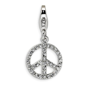 Sterling Silver Amore La Vita Rhodium-plated Small CZ Peace Sign Charm