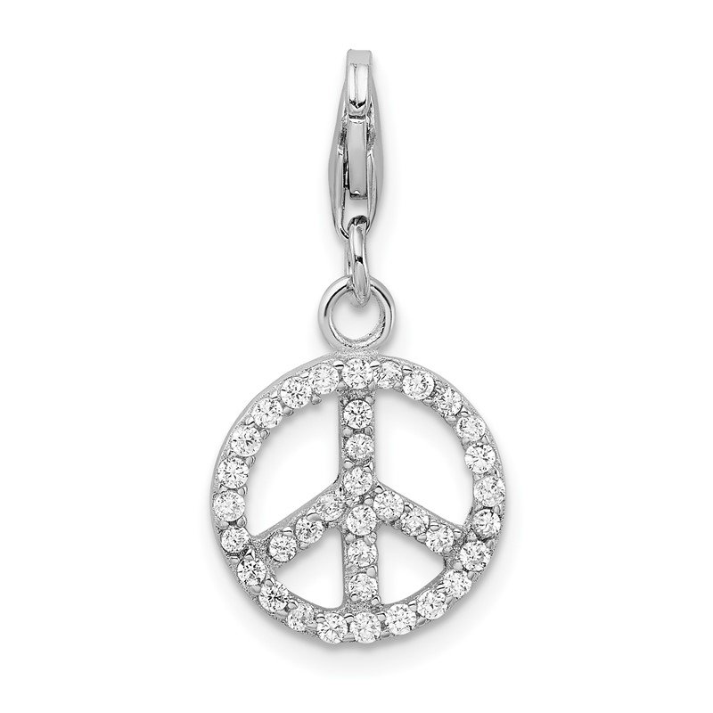 Quality Gold Sterling Silver Amore La Vita Rhodium-plated Small CZ Peace Sign Charm
