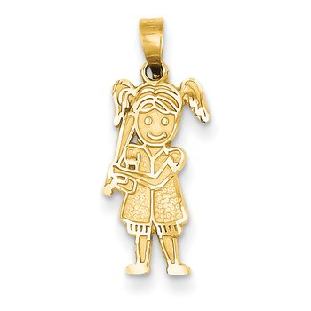 14k Girl Baseball Player Pendant