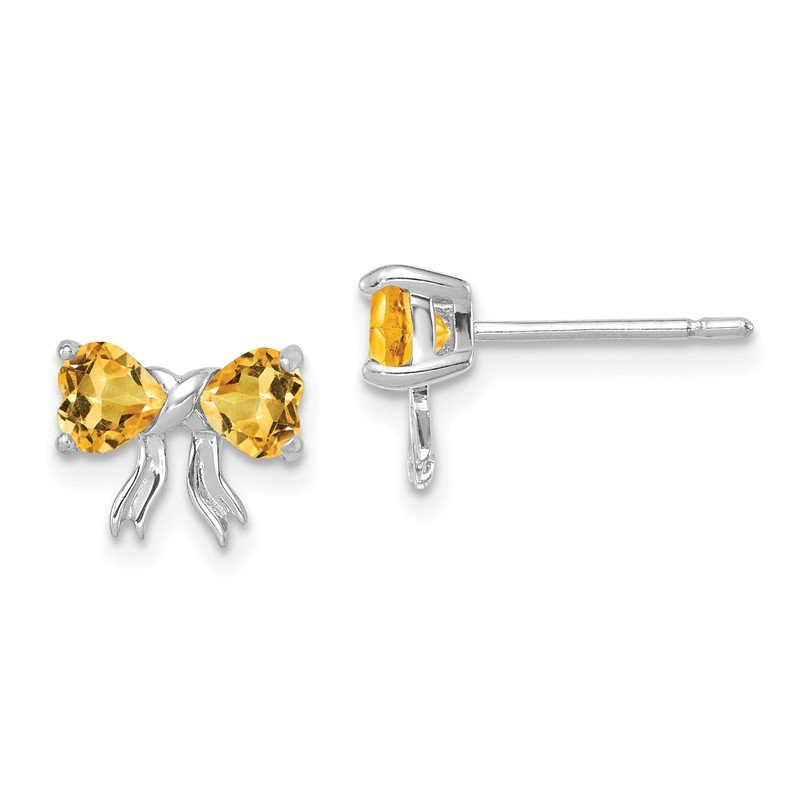 Fine Jewelry by JBD 14k White Gold Polished Citrine Bow Post Earrings