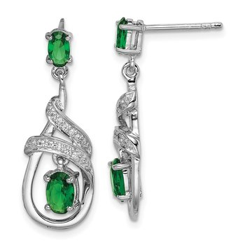 Sterling Silver Rhodium-plated White/Green CZ Dangle Post Earrings