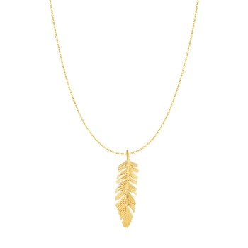 10K Gold Feather Necklace